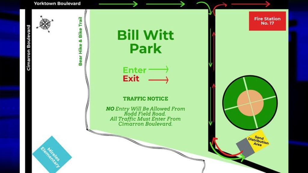 Map of Sandbagger location at Bill Witt Park