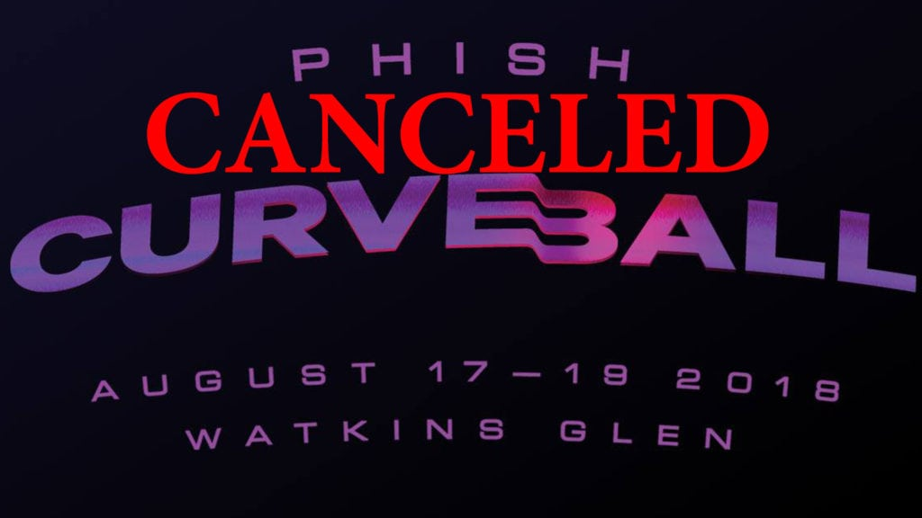 Phish Curveball Promotion sign with Canceled across
