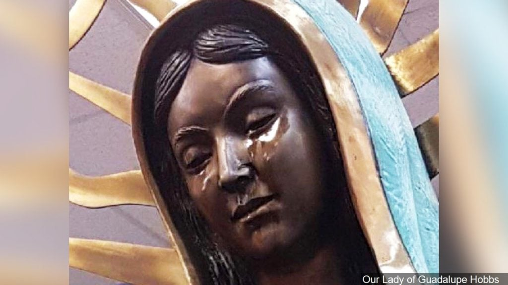 The Weeping Virgin Mary Statue, Our Lady of Guadalupe Hobbs Catholic Church, New Mexico, Photo Date: 6/6/2018