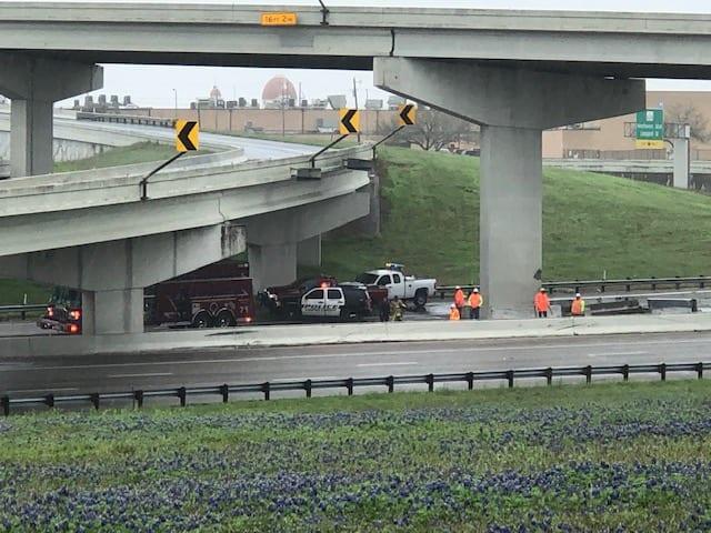 Driver hospitalized after accident at I-37/U S  Highway 77 interchange