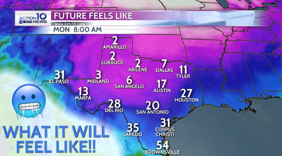 Monday A.M. feels like temperatures
